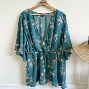 torrid 2 floral chiffon vneck blouse ruffle sleeve